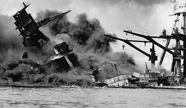 USS Arizona under attack on December 7, 1941 at Pearl Harbor