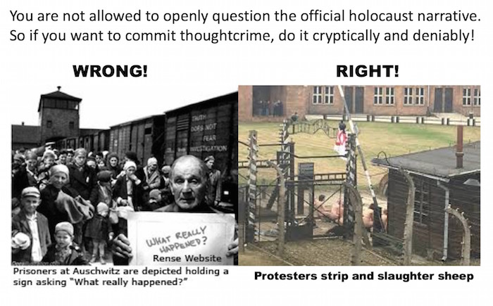 "Did naked holocaust revisionists ""slaughter sheeple"" at Auschwitz?"