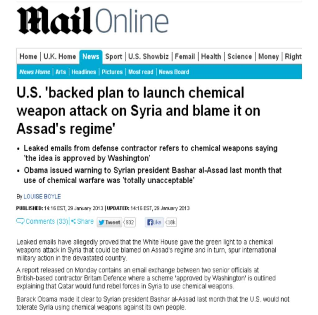 "2013 Daily Mail Article ""US to Stage Chemical Warfare ..."