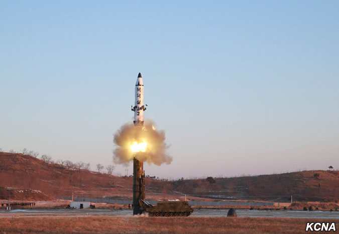 The Pukguksong-2 pictured during a test on February 12, 2017 (Photo: KCNA).