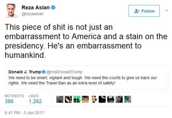 "Fecal Pride Alliance: Resa Aslan must apologize for comparing Trump to ""a piece of sh*t"""