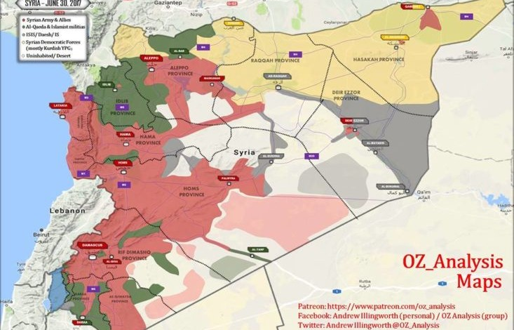 End of June map update of the Syrian War