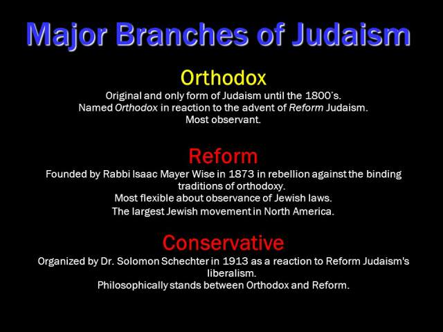 branches of judaism Helpful chart for witnessing situations to orthodox, conservative, and reform  branches of judaism.