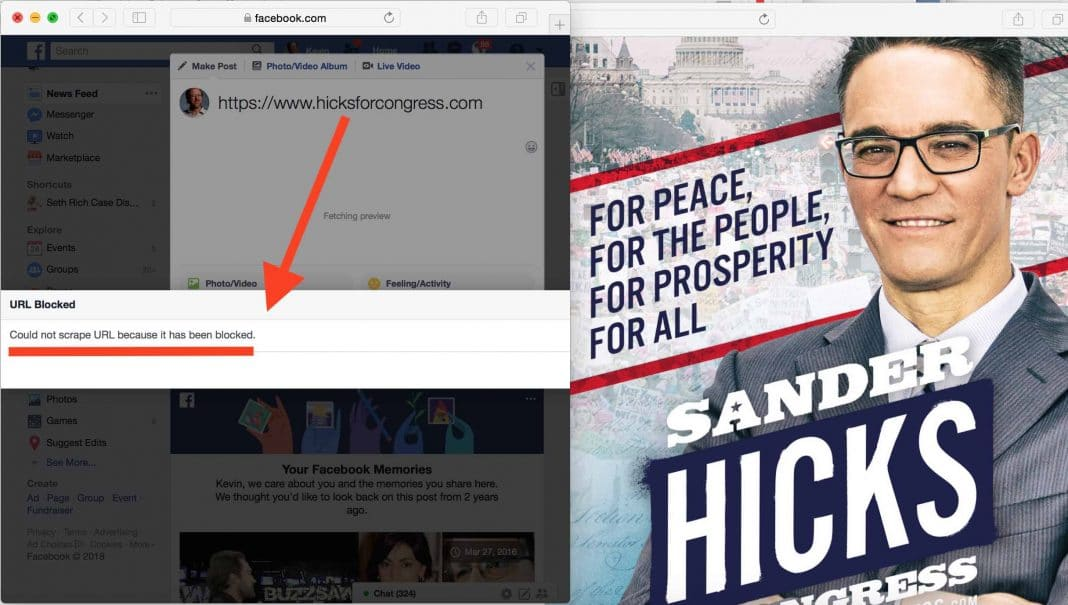 Facebook blocks Congress candidate's website—because he