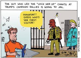 """The once boisterous and bellowing leader, Manafort, ofthe """"lock her up"""" chants onTrump's campaign trail has found himself inquite the predicament..."""