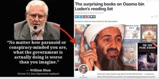 We are told that Osama's bookshelf included two books by Blum, along with other excellent books including David Ray Griffin's The New Pearl Harbor.