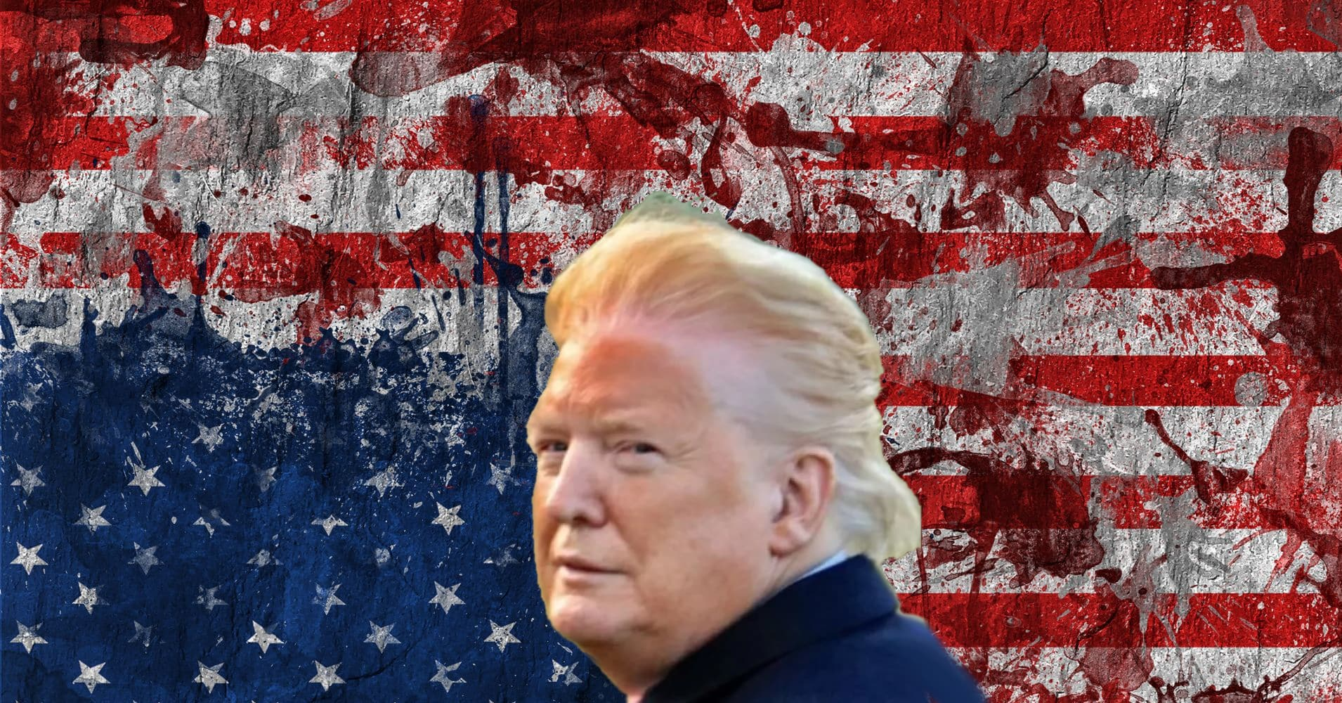 Orange Trump American Flag